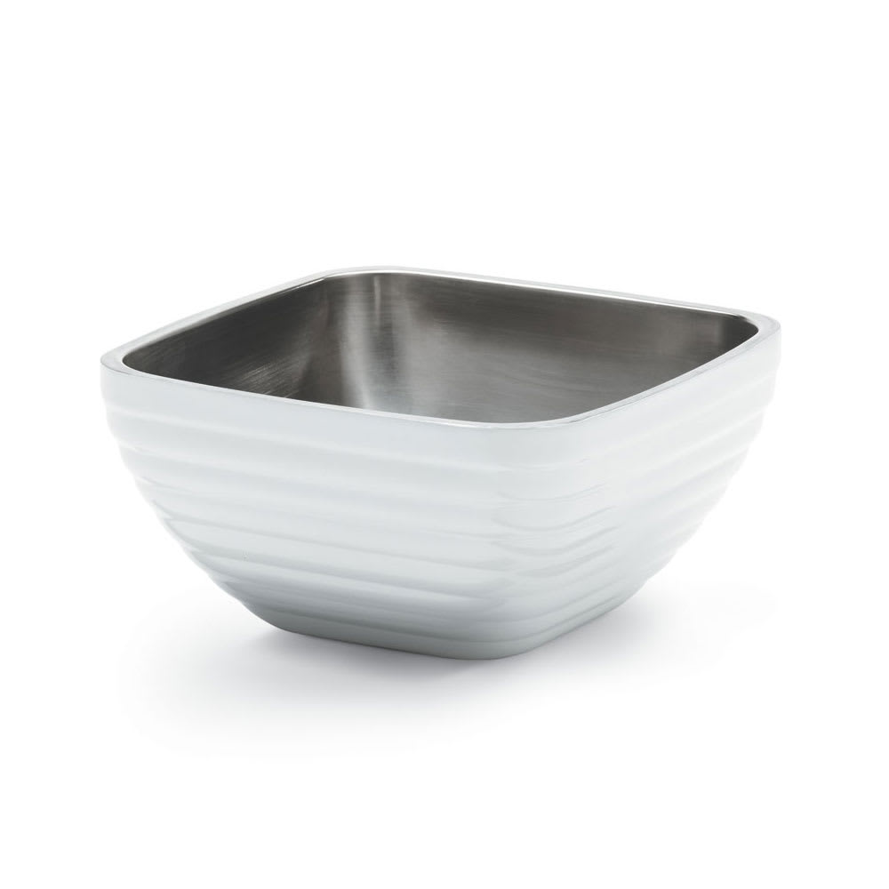 Vollrath 4763450 3.2-qt Square Insulated Bowl - Stainless, Pearl White