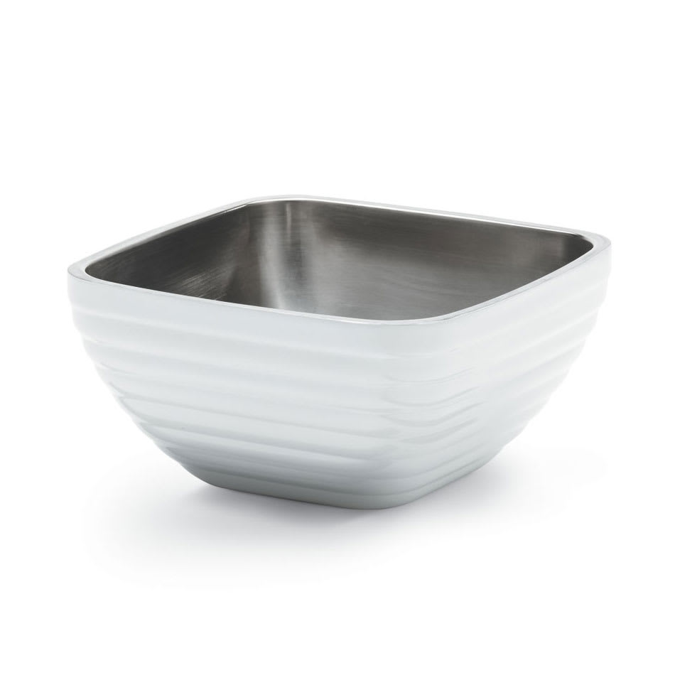Vollrath 47635-50 5.2-qt Square Insulated Bowl - Stainless, Pearl White