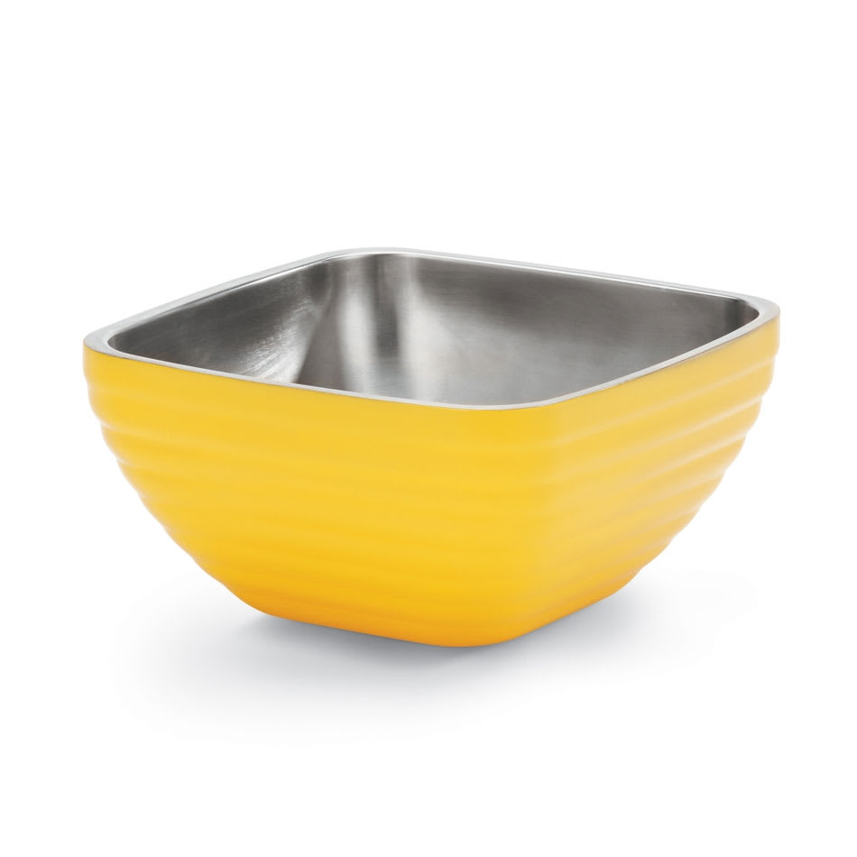Vollrath 4763745 8.2 qt Square Insulated Bowl - Stainless, Nugget Yellow