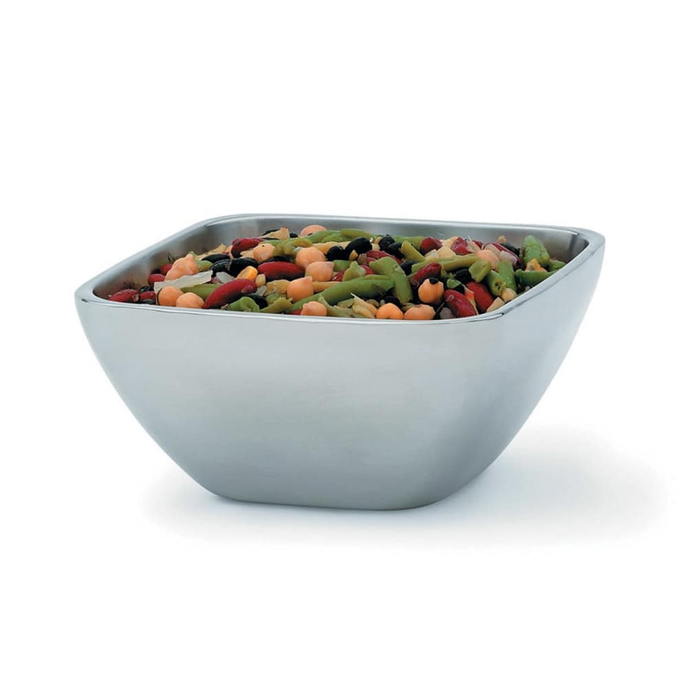 Vollrath 47672 1.8 qt Square Plain Insulated Bowl - Mirror-Finish Stainless