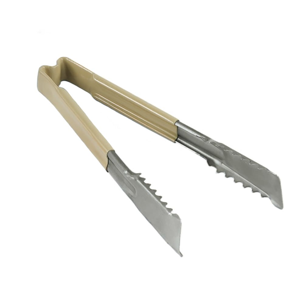 "Vollrath 4780960 9.5""L Stainless Utility Tongs, Tan"