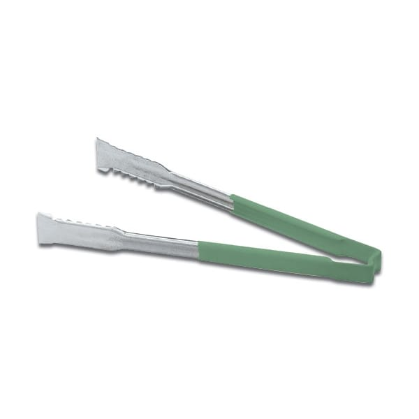 "Vollrath 4791270 12""L Stainless Utility Tongs, Green"