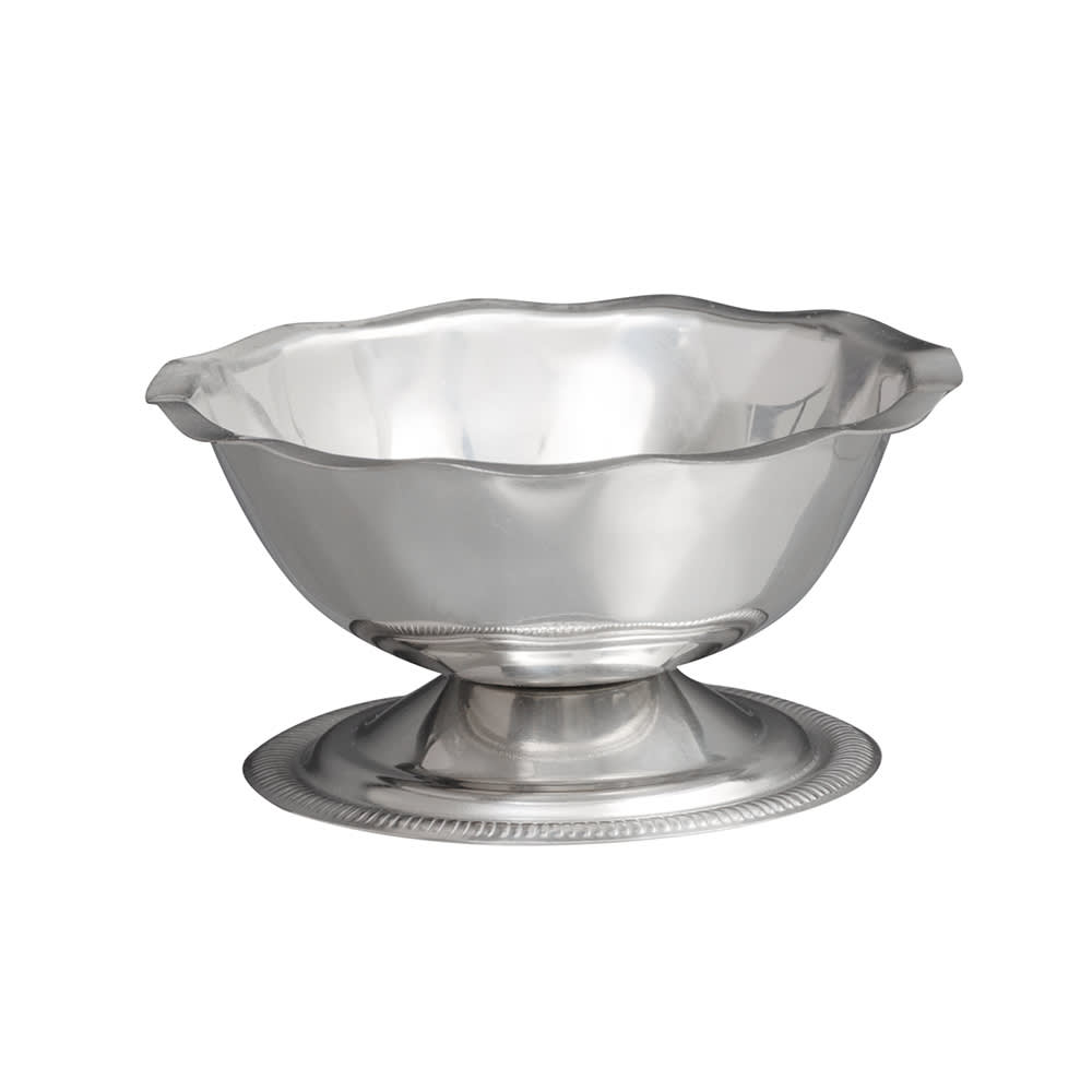 Vollrath 48013 3 1/2 oz Sherbet Dish - Paneled and Scalloped Top, Stainless