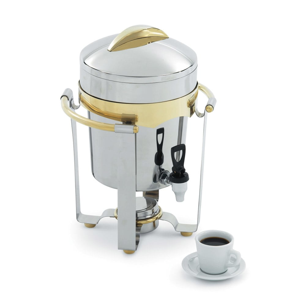 Vollrath 48328 11.6 qt Coffee Urn - 24K Gold Accent, Mirror-Finish Stainless