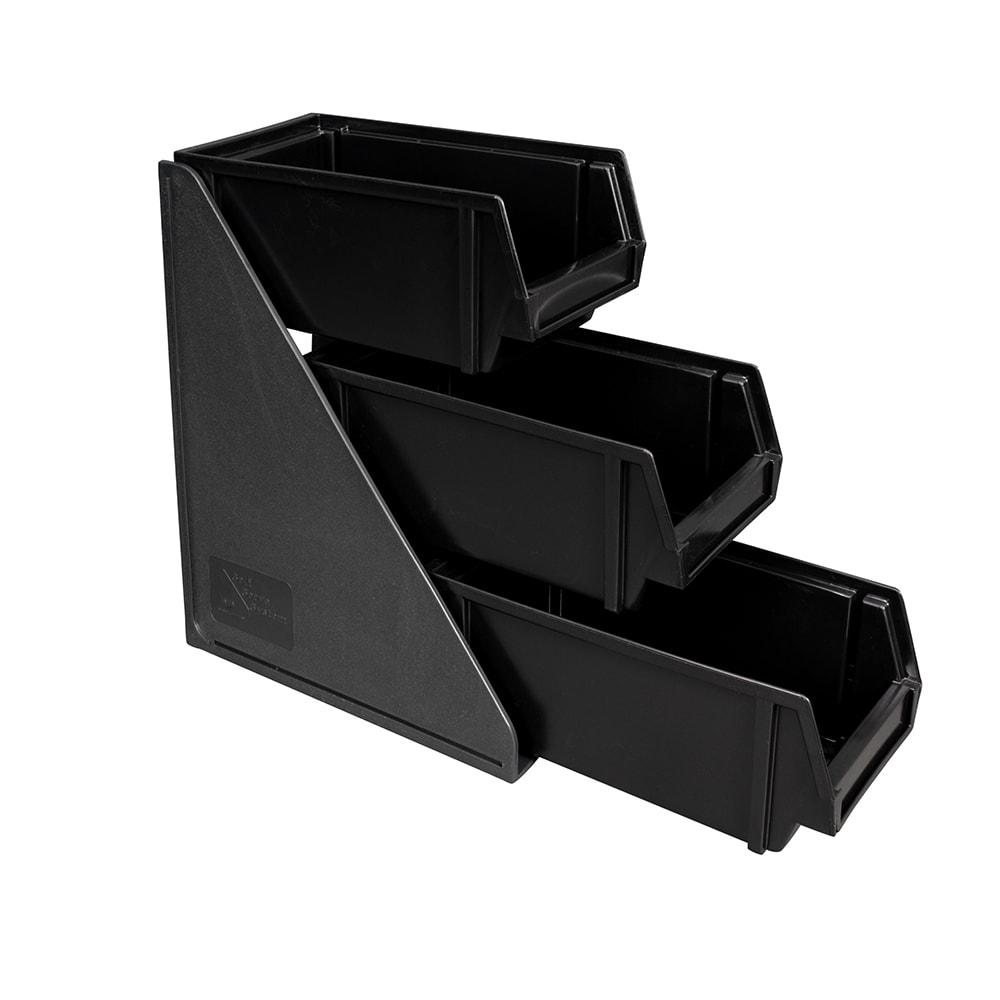 "Vollrath 4843-06 3 Tier Condiment Self-Serve System Set - (3) 11 1/4"" Bins - Plastic, Black"