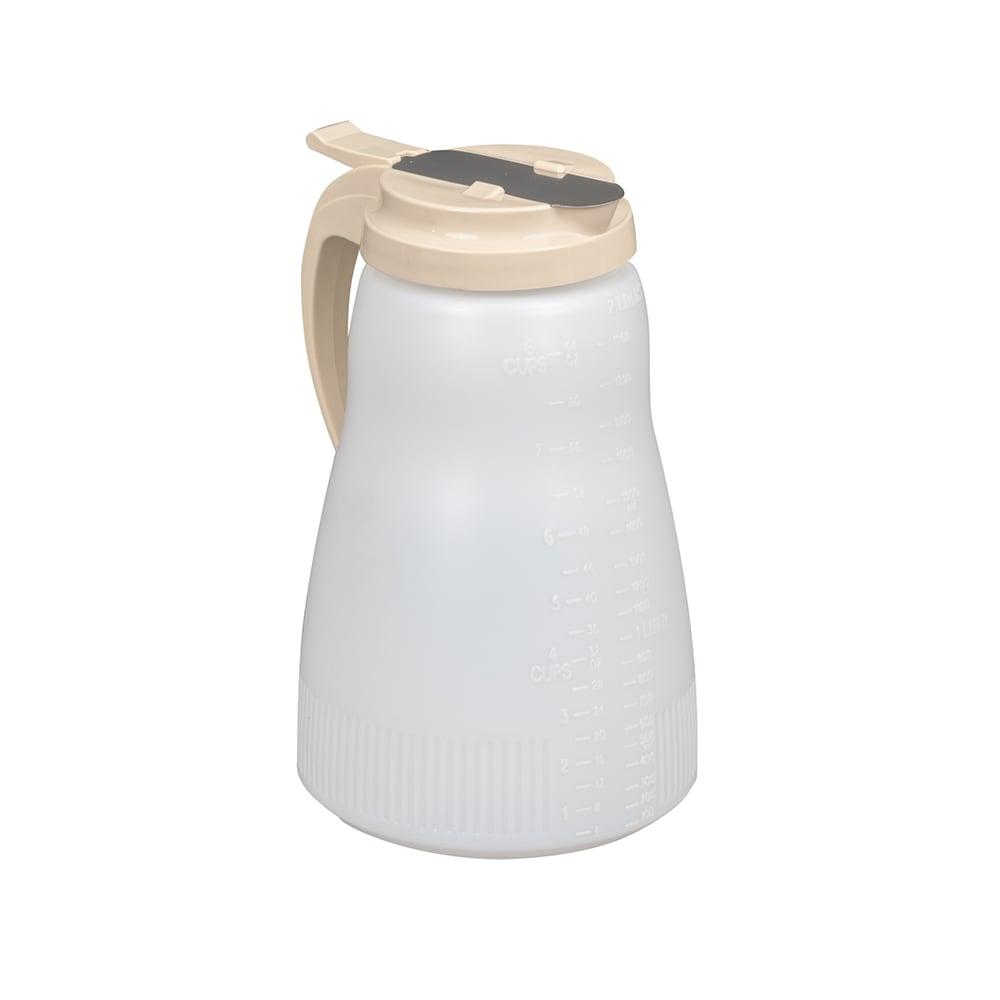 Vollrath 4864-18 64-oz Syrup Server - Almond Plastic Top, Poly