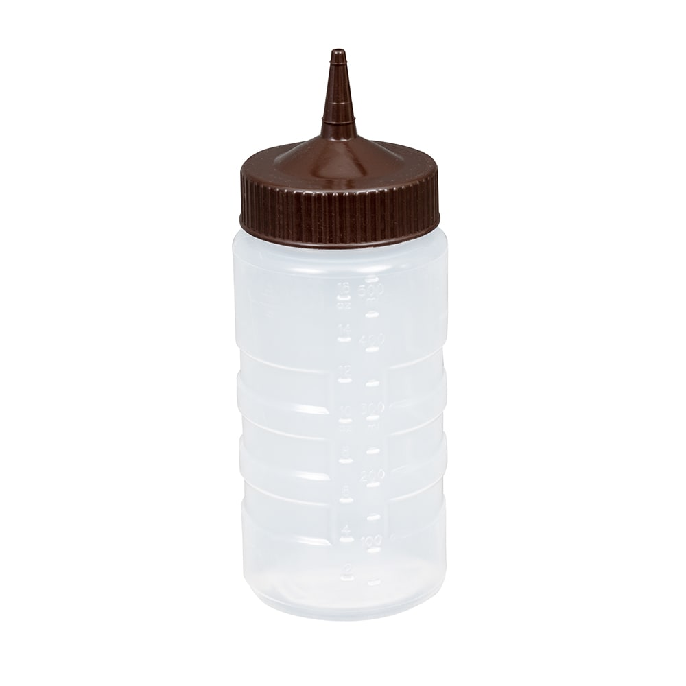 Vollrath 4916-1301 16 oz Squeeze Bottle Dispenser - Wide Mouth, Clear with Brown Cap