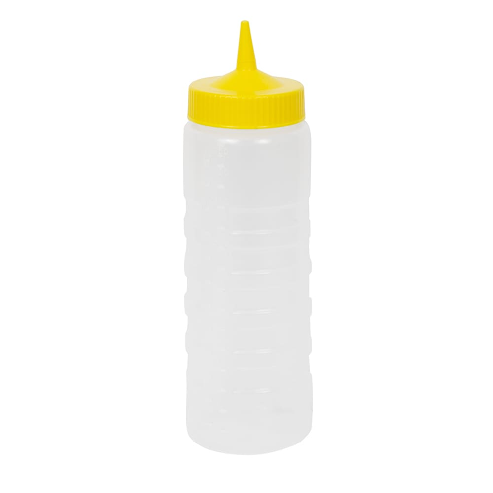 Vollrath 4924-1308 24 oz Squeeze Bottle Dispenser - Wide Mouth, Clear with Yellow Cap