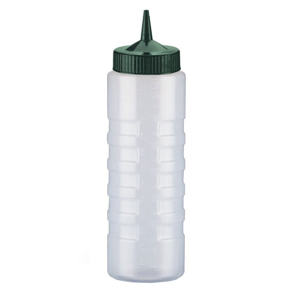 Vollrath 4932-13191 32-oz Squeeze Bottle Dispenser - Wide Mouth, Clear with Vista Green Cap