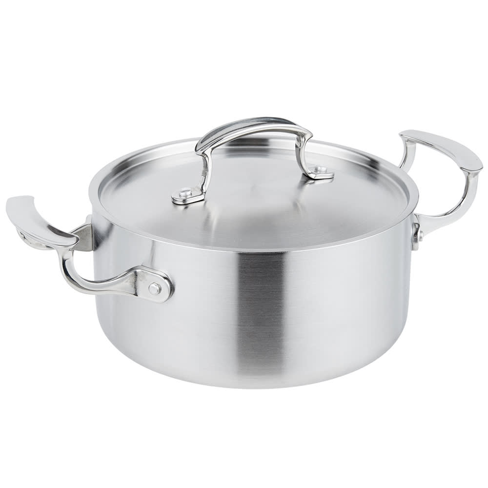 Vollrath 49410 3 qt Casserole with Low Dome Cover - Aluminum Bottom, 18 ga  Stainless