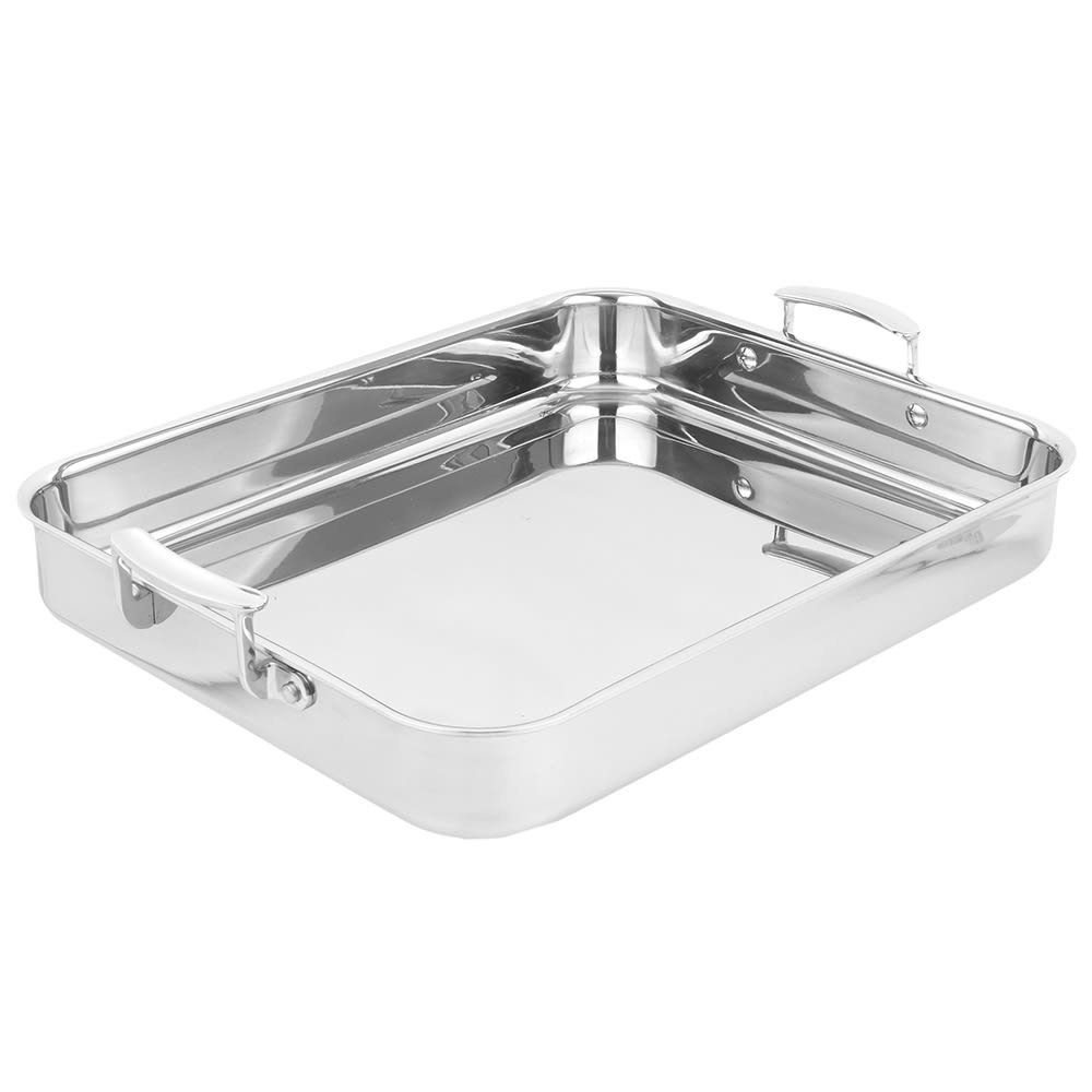 Vollrath 49433 4.6 qt Large Food Pan with Handles - Aluminum Bottom, 18 ga Stainless