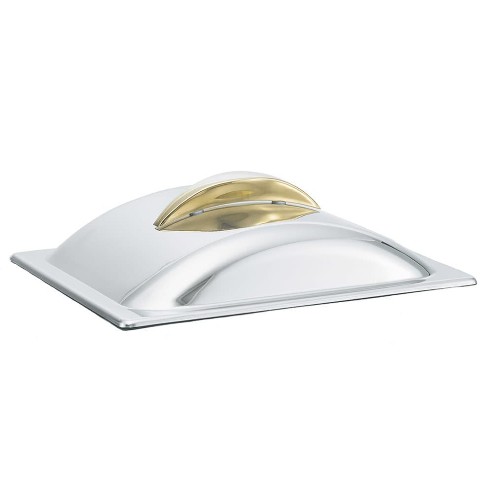 Vollrath 49530 Half-Size Rectangular Chafer Cover - 24K Gold Accent, Mirror-Finish Stainless