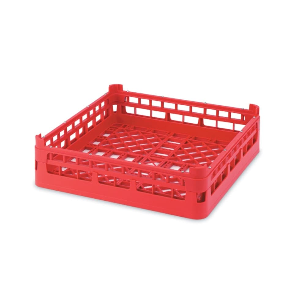 "Vollrath 52670 Open-End Dishwasher Rack - Short, Full-Size, 19 3/4x19 3/4"" Red"