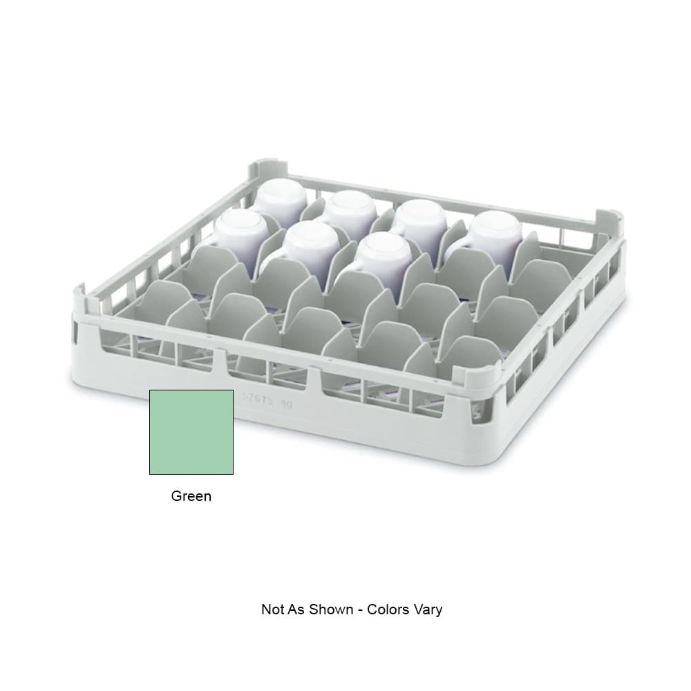 "Vollrath 52674 Dishwasher 16-Cup Rack - Short, Full-Size, 19-3/4x19-3/4"" Green"