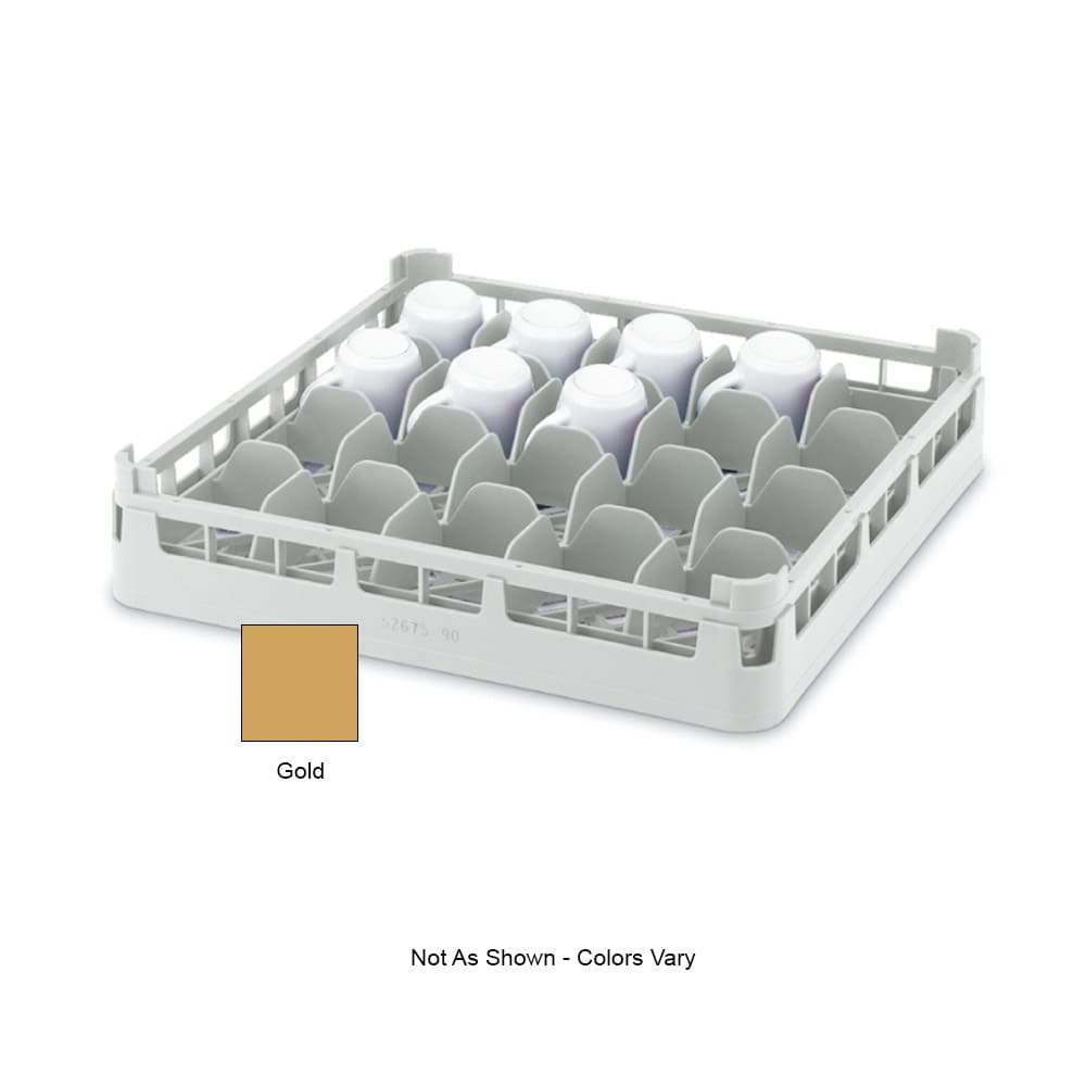"Vollrath 52674 Dishwasher 16-Cup Rack - Short, Full-Size, 19-3/4x19-3/4"" Gold"