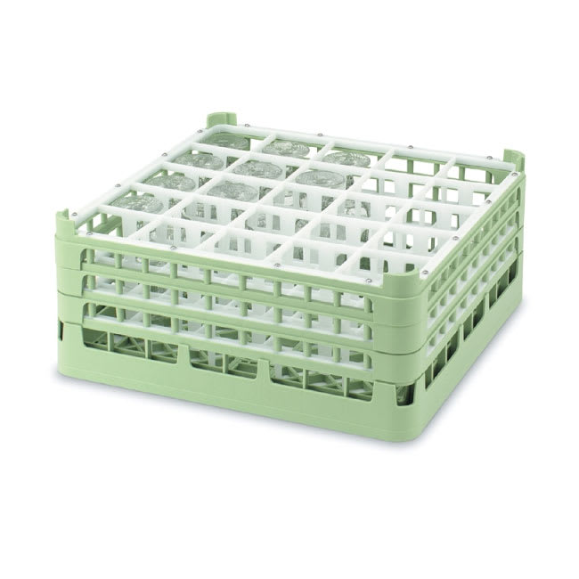 """Vollrath 52684 Dishwasher Rack - 25 Compartment, Short, Full-Size, 19 3/4x19 3/4"""" Green"""