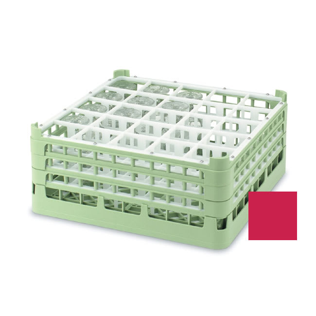 "Vollrath 52684 Dishwasher Rack - 25-Compartment, Short, Full-Size, 19-3/4x19-3/4"" Red"