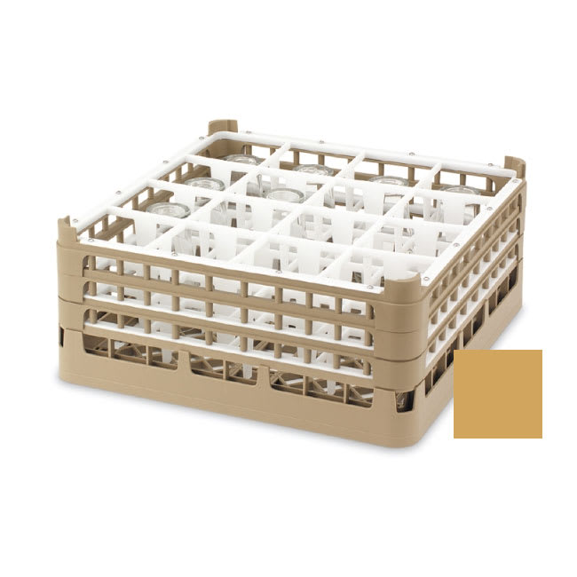"Vollrath 52694 5 Dishwasher Rack - 16-Compartment, Short, Full-Size, 19-3/4x19-3/4"" Gold"