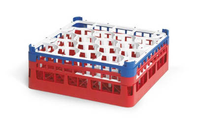 """Vollrath 52708 Dishwasher Rack - 20 Lemon-Drop, XX-Tall, Full-Size, 19 3/4x19 3/4"""" Red"""