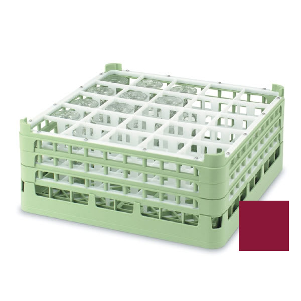 "Vollrath 52711 Dishwasher Rack - 25 Compartment, Tall, Full-Size, 19 3/4x19 3/4"" Burgundy"