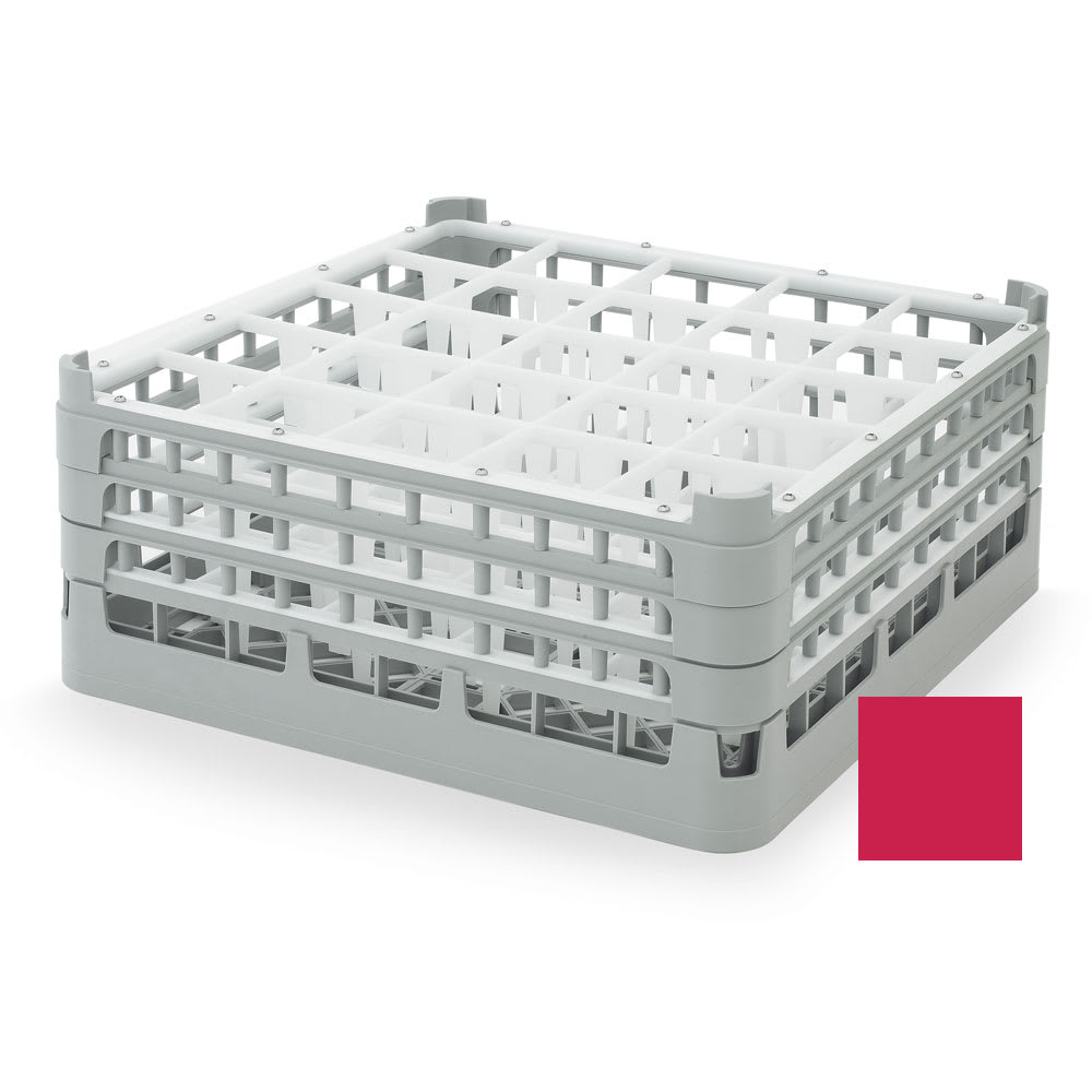 "Vollrath 52712 Dishwasher Rack - 25 Compartment, X-Tall, Full-Size, 19 3/4x19 3/4"" Red"