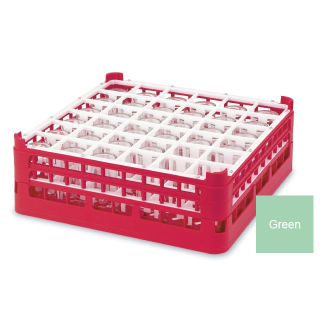 "Vollrath 52716 Dishwasher Rack - 36 Compartment, X-Tall, Full-Size, 19 3/4x19 3/4"" Green"