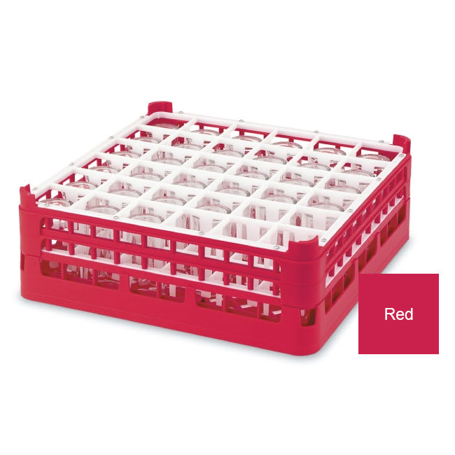 "Vollrath 52716 3 Dishwasher Rack - 36-Compartment, X-Tall, Full-Size, 19-3/4x19-3/4"" Red"