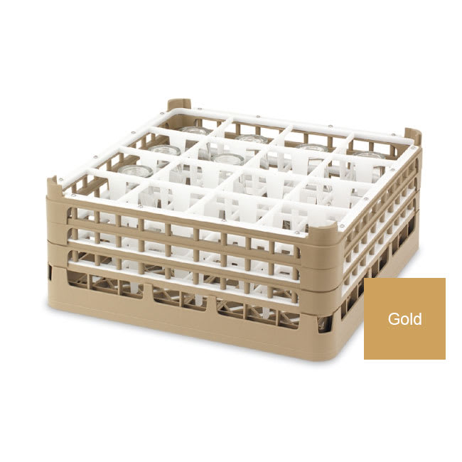 "Vollrath 52719 5 Dishwasher Rack - 16-Compartment, Tall, Full-Size, 19-3/4x19-3/4"" Gold"