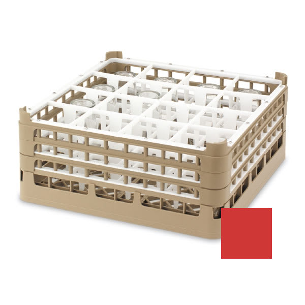 "Vollrath 52721 Dishwasher Rack - 16-Compartment, XX-Tall, Full-Size, 19-3/4x19-3/4"" Red"