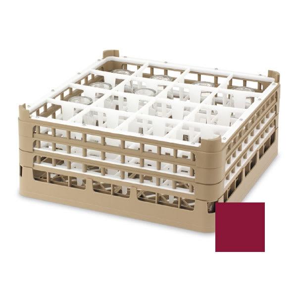 "Vollrath 52721 9 Dishwasher Rack - 16-Compartment, XX-Tall, Full-Size, 19-3/4x19-3/4"" Burgundy"