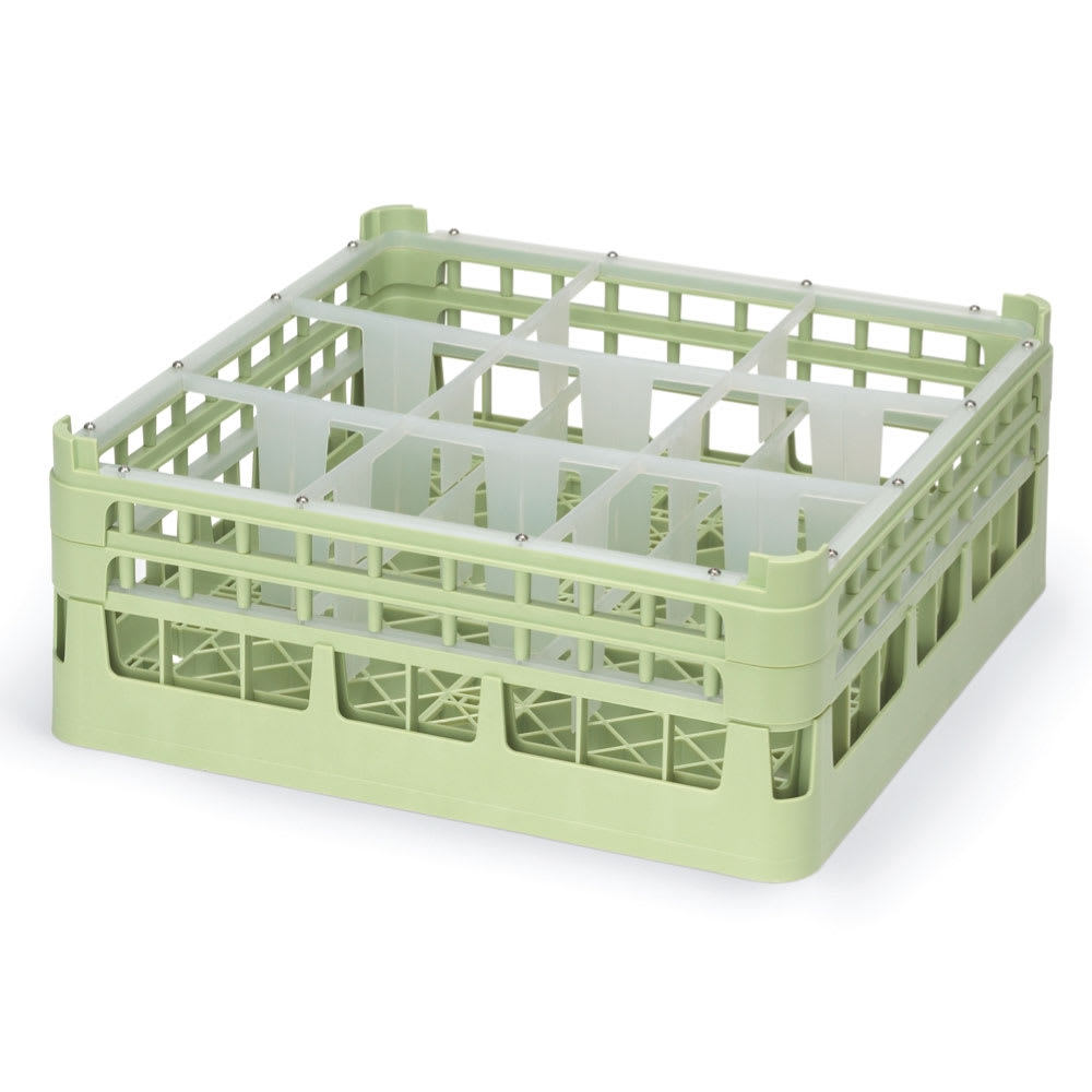 "Vollrath 52726 Dishwasher Rack - 9 Compartment, Short, Full-Size, 19 3/4x19 3/4"" Green"