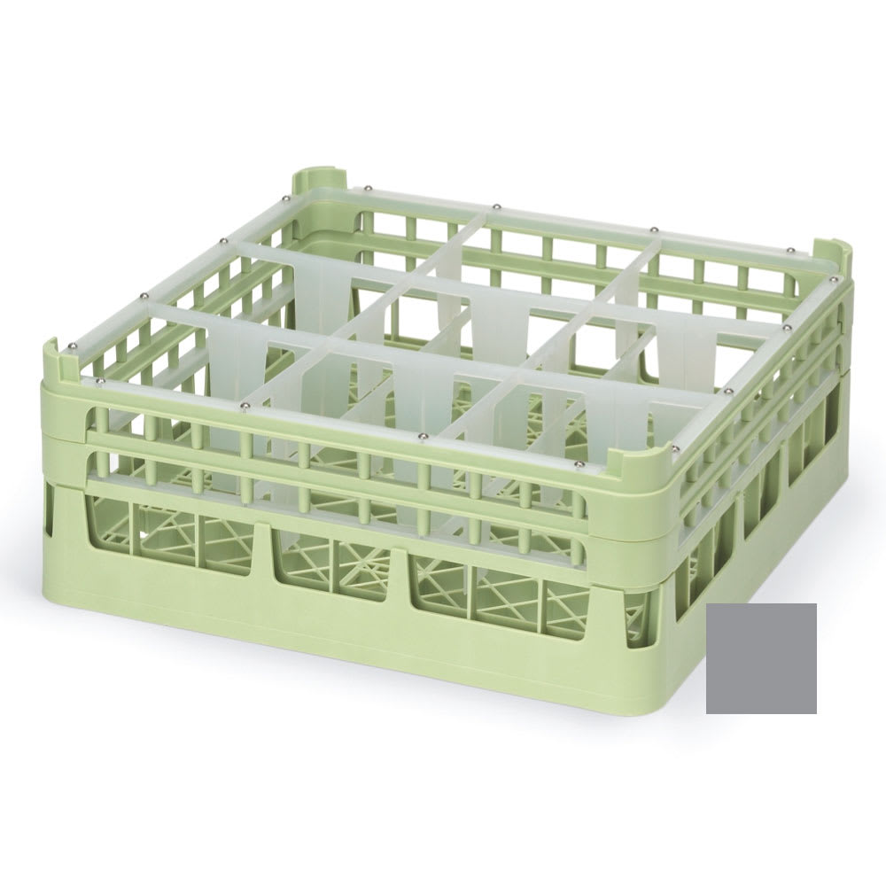 """Vollrath 52726 6 Dishwasher Rack - 9-Compartment, Short, Full-Size, 19-3/4x19-3/4"""" Gray"""