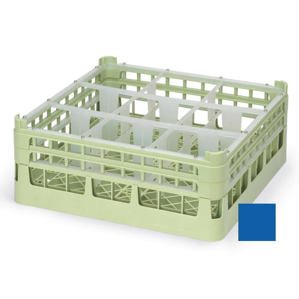 """Vollrath 52726 Dishwasher Rack - 9-Compartment, Short, Full-Size, 19-3/4x19-3/4"""" Royal Blue"""