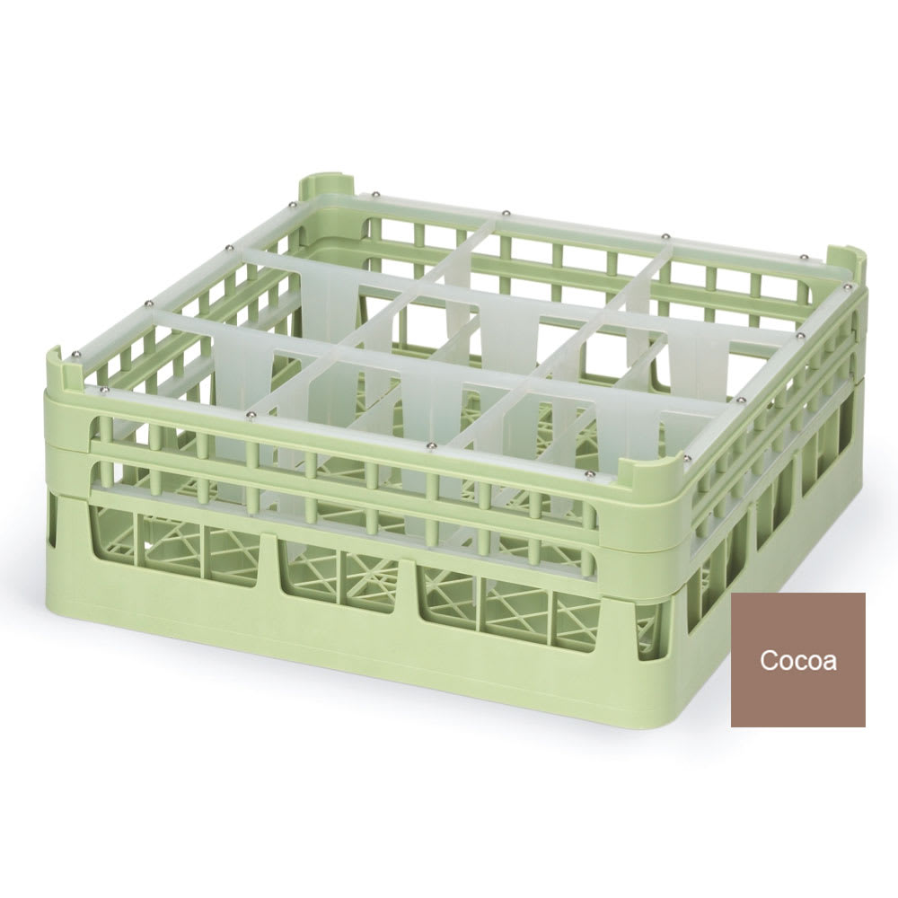 """Vollrath 52728 Dishwasher Rack - 9 Compartment, Tall, Full-Size, 19 3/4x19 3/4"""" Cocoa"""