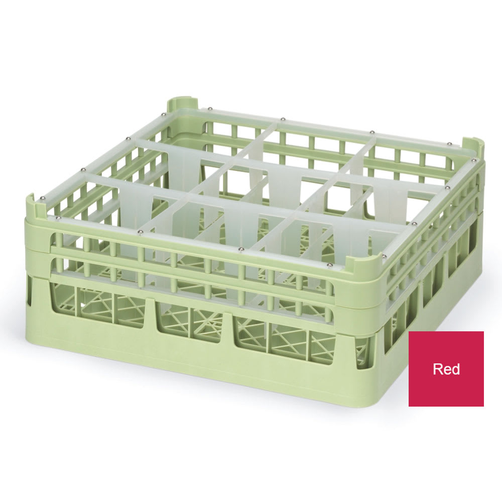 """Vollrath 52728 Dishwasher Rack - 9 Compartment, Tall, Full-Size, 19 3/4x19 3/4"""" Red"""
