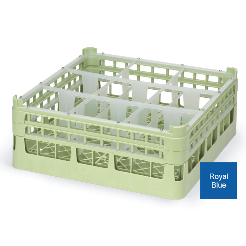 "Vollrath 52730 7 Dishwasher Rack - 9-Compartment, X-Tall, Full-Size, 19-3/4x19-3/4"" Royal Blue"