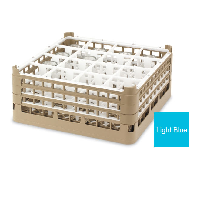 "Vollrath 52737 Dishwasher Rack - 16 Compartment, 4X-Tall, Full-Size, 19 3/4x19 3/4"" Blue"