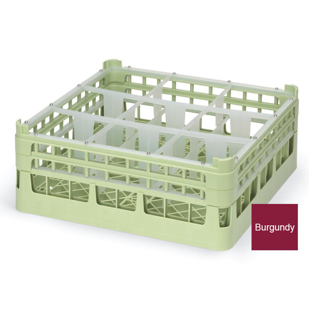 "Vollrath 52760 Dishwasher Rack - 9 Compartment, Short Plus, Full-Size, 19 3/4x19 3/4"" Burgundy"