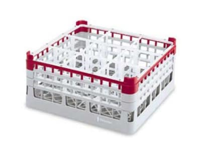 "Vollrath 52763 Dishwasher Rack - 9 Compartment, X-Tall Plus, Full-Size, 19 3/4x19 3/4"" Burgundy"
