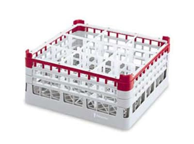 "Vollrath 52765 Dishwasher Rack - 9 Compartment, 3X-Tall Plus, Full-Size, 19 3/4x19 3/4"" Green"