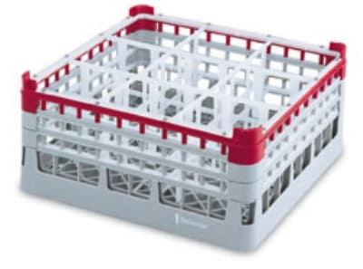 "Vollrath 52765 Dishwasher Rack - 9 Compartment, 3X-Tall Plus, Full-Size, 19 3/4x19 3/4"" Gray"