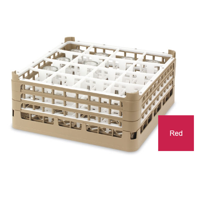 "Vollrath 52766 3 Dishwasher Rack - 16-Compartment, Short Plus, Full-Size, 19-3/4x19-3/4"" Red"