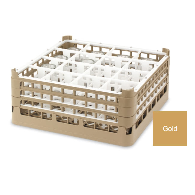 "Vollrath 52766 Dishwasher Rack - 16 Compartment, Short Plus, Full-Size, 19 3/4x19 3/4"" Gold"