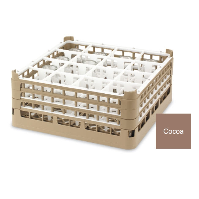"Vollrath 52767 Dishwasher Rack - 16 Compartment, Medium Plus, Full-Size, 19 3/4x19 3/4"" Cocoa"