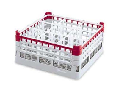 "Vollrath 52769 Dishwasher Rack - 16 Compartment, X-Tall Plus, Full-Size, 19 3/4x19 3/4"" Green"