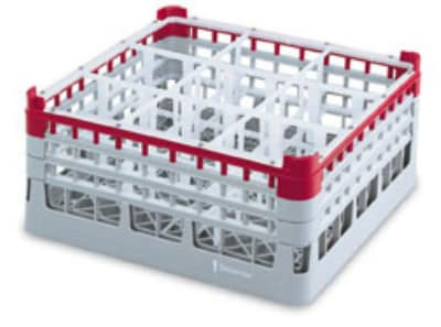 "Vollrath 52769 Dishwasher Rack - 16 Compartment, X-Tall Plus, Full-Size, 19 3/4x19 3/4"" Red"