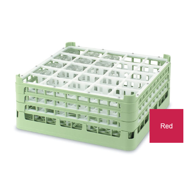 """Vollrath 52772 3 Dishwasher Rack - 25-Compartment, Short Plus, Full-Size, 19-3/4x19-3/4"""" Red"""