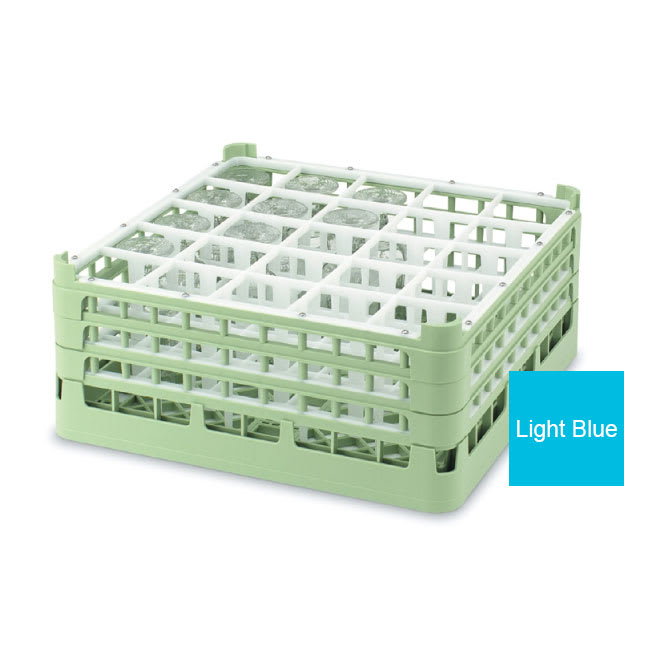 "Vollrath 52772 4 Dishwasher Rack - 25-Compartment, Short Plus, Full-Size, 19-3/4x19-3/4"" Blue"