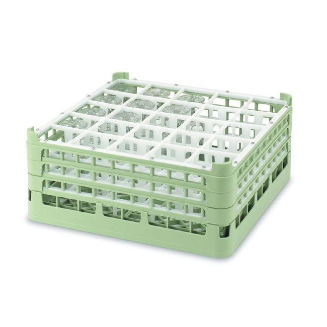 "Vollrath 52773 1 Dishwasher Rack - 25-Compartment, Medium Plus, Full-Size, 19-3/4x19-3/4"" Green"