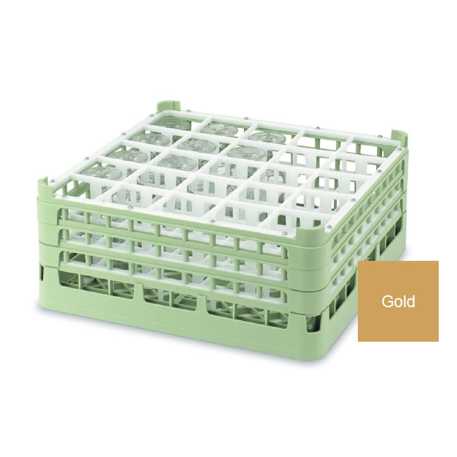 "Vollrath 52773 Dishwasher Rack - 25 Compartment, Medium Plus, Full-Size, 19 3/4x19 3/4"" Gold"